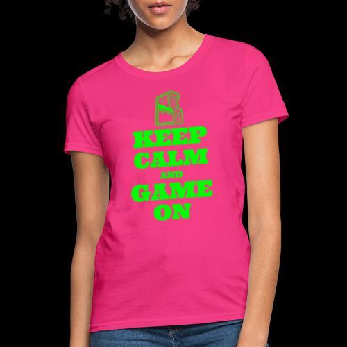 Keep Calm and Game On | Retro Gamer Arcade - Women's T-Shirt
