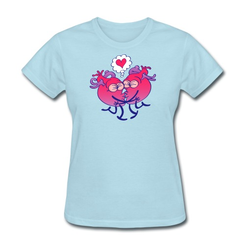 Couple of hearts in love kissing passionately - Women's T-Shirt