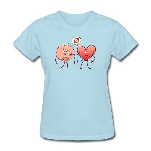 Heart examinating Brain with Stethoscope - Women's T-Shirt