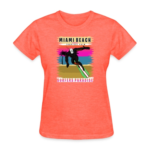 Miami Beach Florida Tropical Palm Surf - Women's T-Shirt
