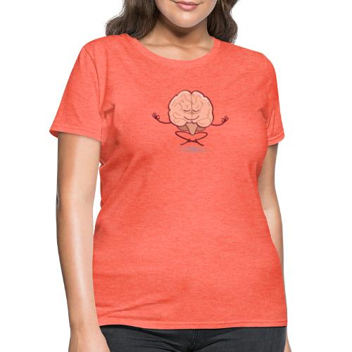 Cartoon brain meditating in lotus pose - Women's T-Shirt