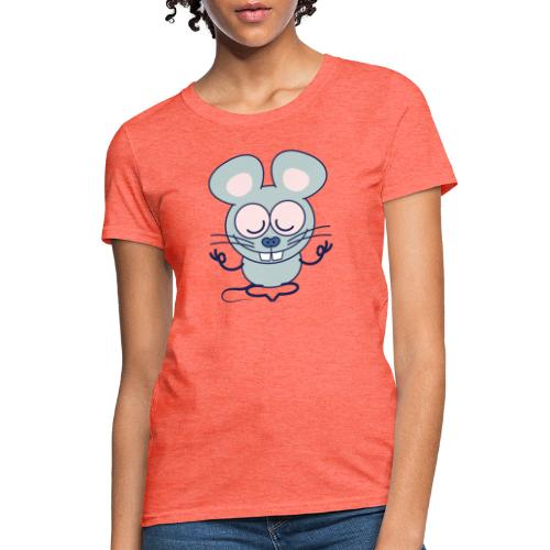 Gray mouse peacefully meditating in lotus pose - Women's T-Shirt
