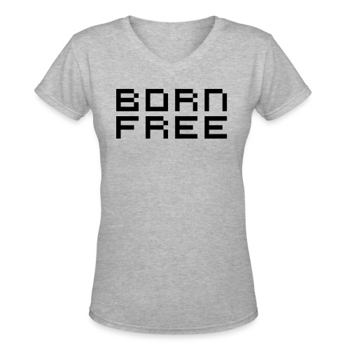 born free black png - Women's V-Neck T-Shirt