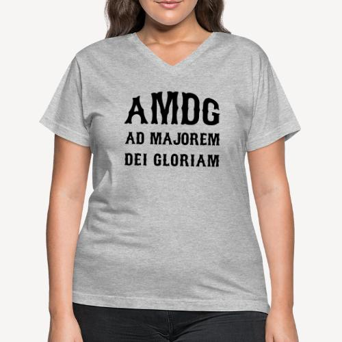 AMDG - Women's V-Neck T-Shirt