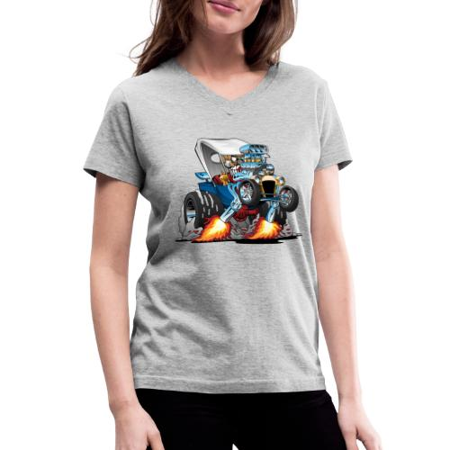Custom T-bucket Roadster Hotrod Cartoon - Women's V-Neck T-Shirt