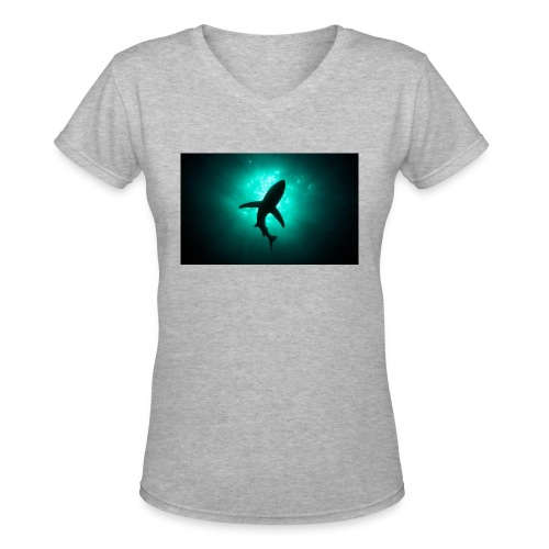 Shark in the abbis - Women's V-Neck T-Shirt