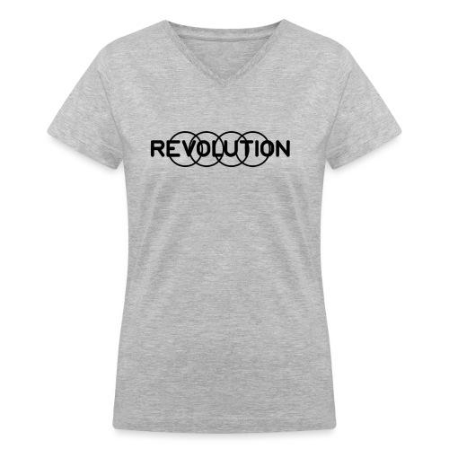 Revolution Black Logo - Women's V-Neck T-Shirt