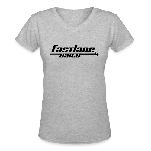 Fast Lane Daily logo - Women's V-Neck T-Shirt