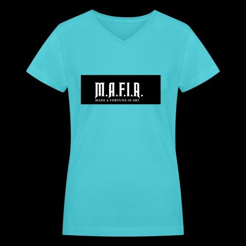 Classic Mafia Logo Black - Women's V-Neck T-Shirt