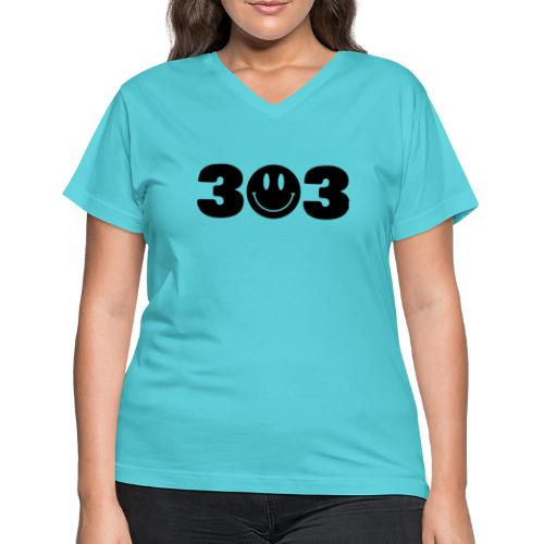 3 Smiley 3 - Women's V-Neck T-Shirt