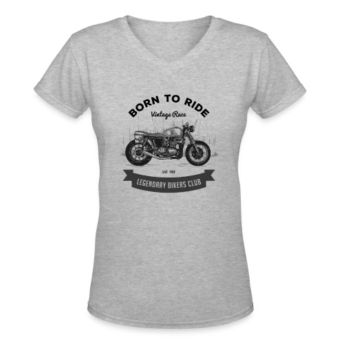 Born to ride Vintage Race T-shirt - Women's V-Neck T-Shirt
