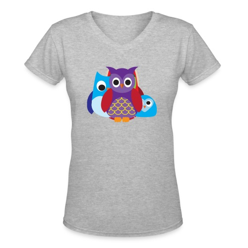 Cute Owls Eyes - Women's V-Neck T-Shirt
