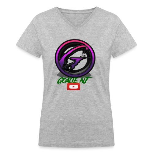 goalie nj logo - Women's V-Neck T-Shirt