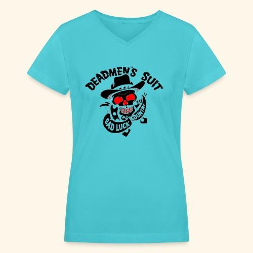 Deadmen's Suit Bad Luck#Skull - Women's V-Neck T-Shirt