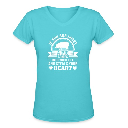 Mini Pig Comes Your Life Steals Heart - Women's V-Neck T-Shirt