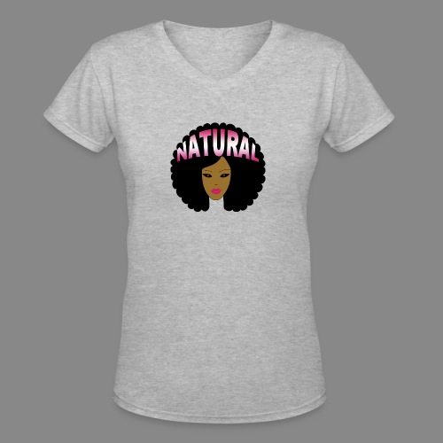 Natural Afro (Pink) - Women's V-Neck T-Shirt