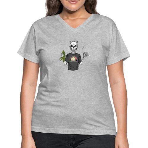 Wyt Devil's Lettuce - Devil Skelton - Women's V-Neck T-Shirt