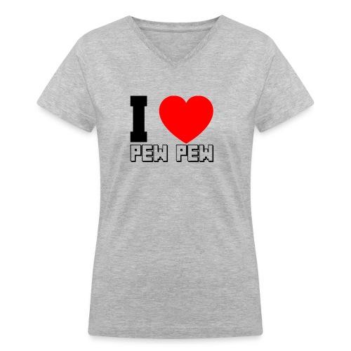 Pew Pew - Black - Women's V-Neck T-Shirt
