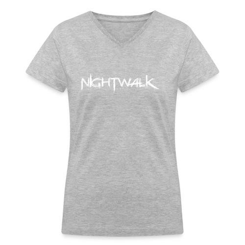 Nightwalk Logo White - Women's V-Neck T-Shirt