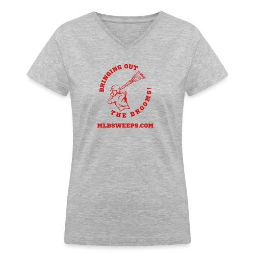 MLB Sweeps Logo and tagline with URL (Light) - Women's V-Neck T-Shirt