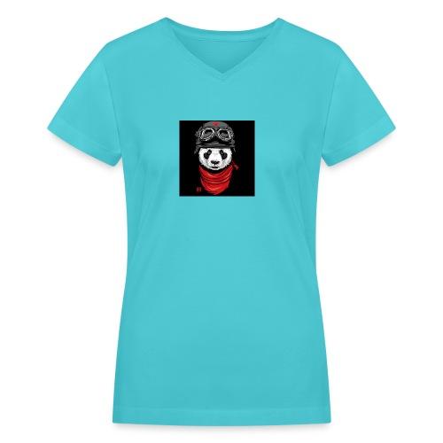 Panda - Women's V-Neck T-Shirt
