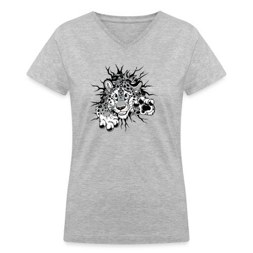 STUCK Snow Leopard (double-sided) - Women's V-Neck T-Shirt