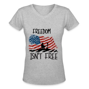 Freedom isn't free flag with fallen soldier design - Women's V-Neck T-Shirt