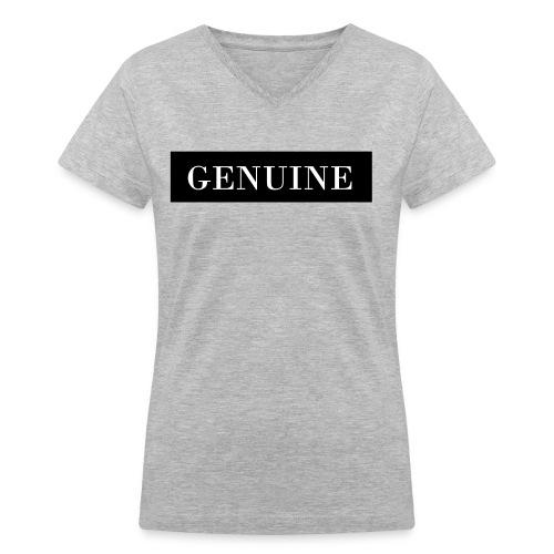 GENUINE Black Out - Women's V-Neck T-Shirt