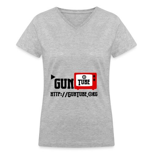 GunTube Shirt with URL - Women's V-Neck T-Shirt