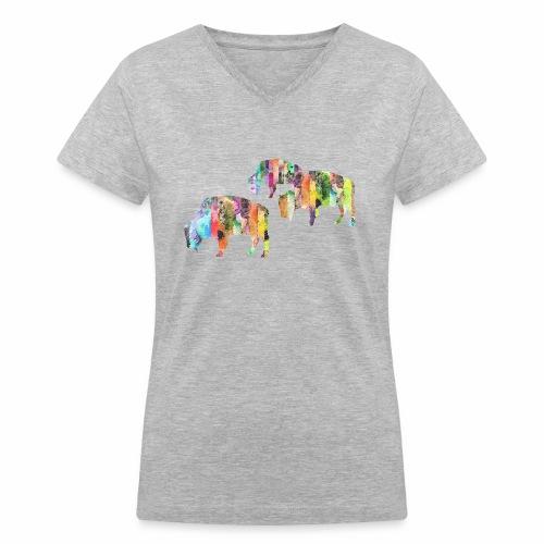 Bison - Women's V-Neck T-Shirt