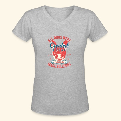 Bulldog - Women's V-Neck T-Shirt