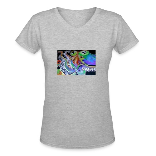 rainbow octopus - Women's V-Neck T-Shirt