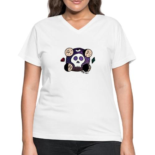 Moon Skull from Outer Space - Women's V-Neck T-Shirt