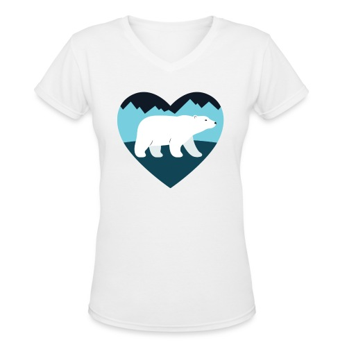 Polar Bear Love - Women's V-Neck T-Shirt