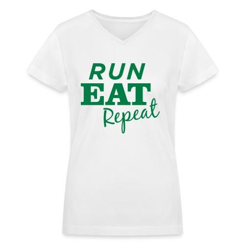 Run Eat Repeat buttons medium - Women's V-Neck T-Shirt