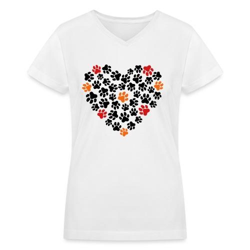 Animal Love - Women's V-Neck T-Shirt