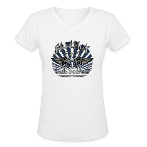 BloodShot Air Force with black - Women's V-Neck T-Shirt