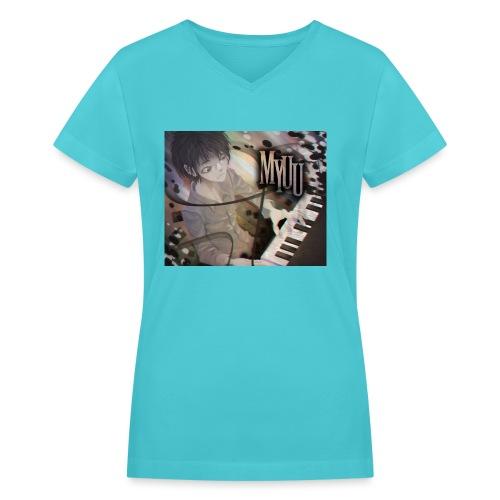 Dark Piano 1 - Women's V-Neck T-Shirt