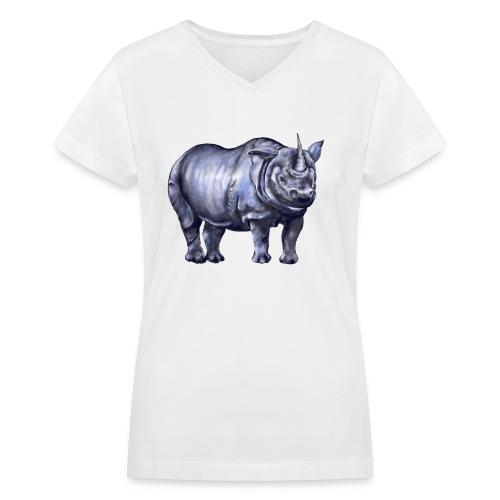 One horned rhino - Women's V-Neck T-Shirt