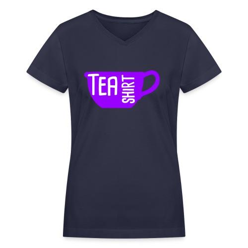 Tea Shirt Purple Power of Tea - Women's V-Neck T-Shirt