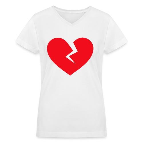Broken Heart - Women's V-Neck T-Shirt