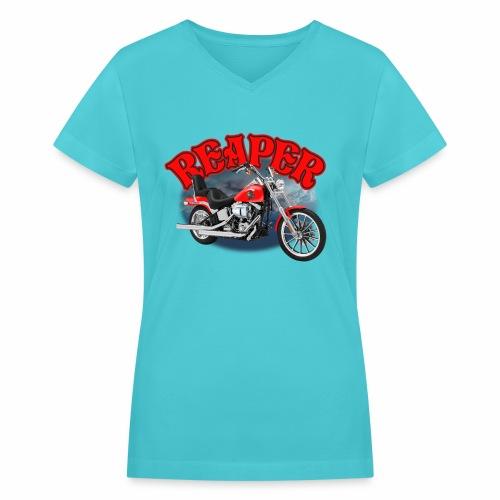 Motorcycle Reaper - Women's V-Neck T-Shirt