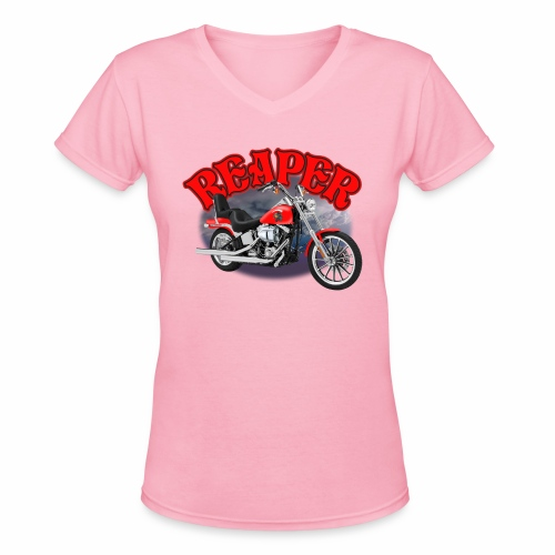 Motorcycle Reaper - Women's V-Neck T-Shirt