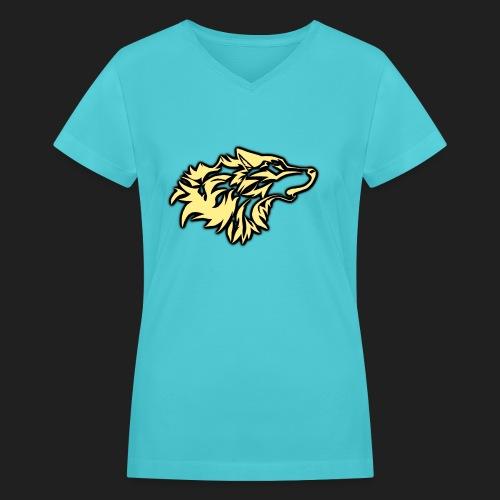 wolfepacklogobeige png - Women's V-Neck T-Shirt