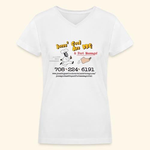 Jones Good Ass BBQ and Foot Massage logo - Women's V-Neck T-Shirt
