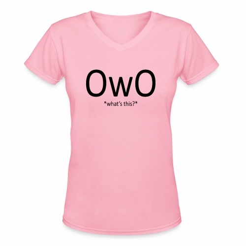 OwO *What's this* - Women's V-Neck T-Shirt