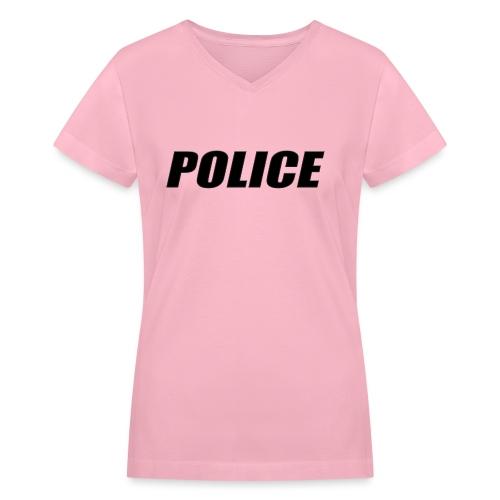 Police Black - Women's V-Neck T-Shirt