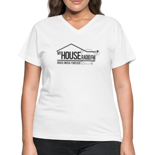 My House Radio Black Logo - Women's V-Neck T-Shirt