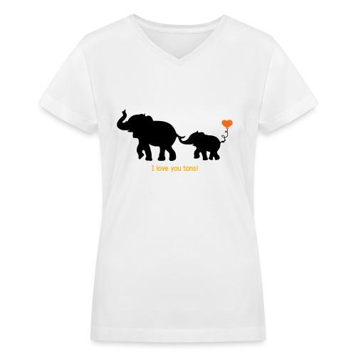 I Love You Tons! - Women's V-Neck T-Shirt