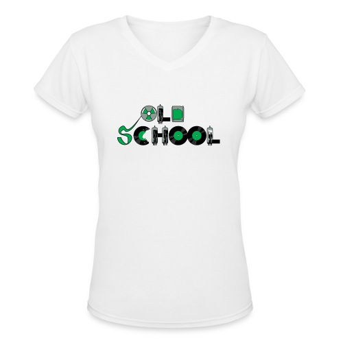 Old School Music - Women's V-Neck T-Shirt